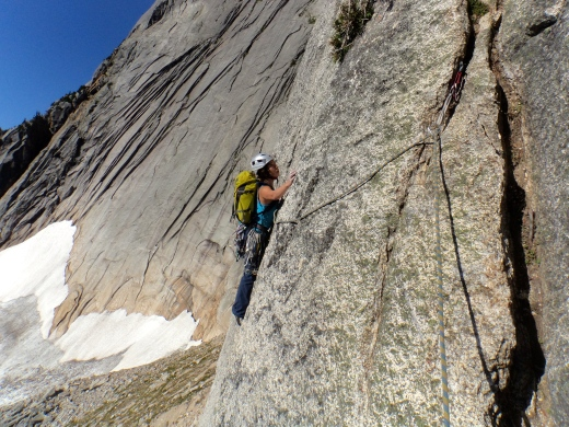 Me seconding the traverse (Pitch 3)
