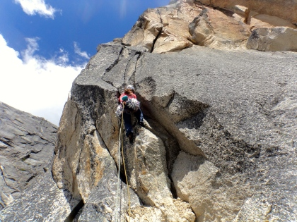 heading up for another off-width (Pitch 7)