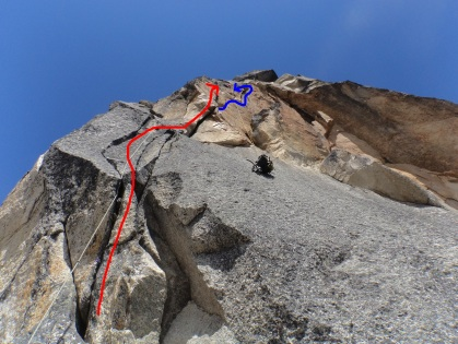 Hauling our packs. Red: what we climbed, Blue: alternative