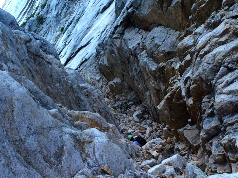 Down climbing in the gully