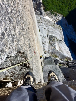 After #1 splitter pitch, belaying on diving board on Los Manos